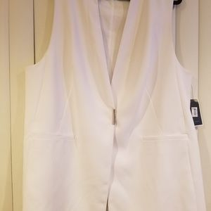 Alfani Women White long vest